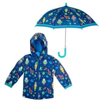 Stephen Joseph Robot Raincoat & Umbrella Set