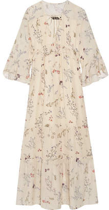 Rachel Zoe Belmont Ruffled Floral-print Silk-chiffon Maxi Dress - Cream