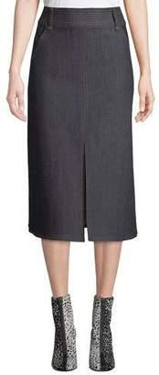 Veronica Beard Leith High-Waist Denim Midi Skirt