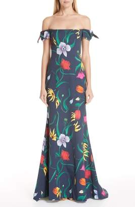 Carolina Herrera Off the Shoulder Floral Gown