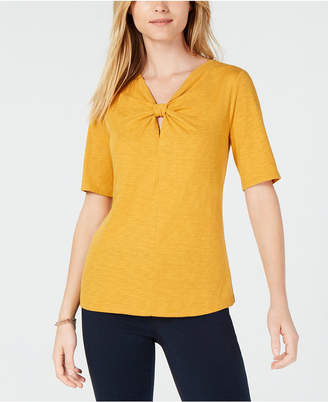 Maison Jules Twisted V-Neckline Top, Created for Macy's