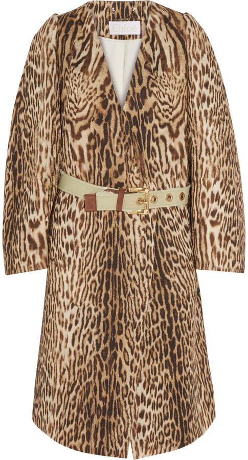 Chloé Chloé Leopard-print cotton-blend jacquard coat