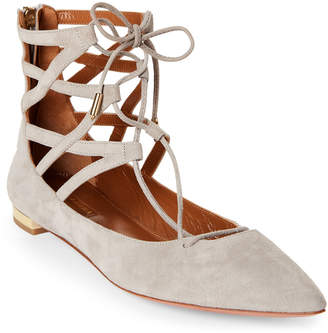 Aquazzura Light Grey Belgravia Suede Lace-Up Flats