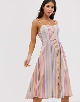 8773d2d3fe798 New Look Tall stripe linen midi dress in multi