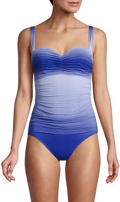Bleu Rod Beattie Ombre Bandeau One-Piece Swimsuit