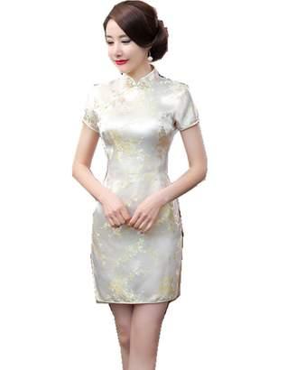 story. Shanghai Women's Short Qipao Rayon Cheongsam Chinese Dress 2XL Black Flower