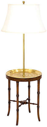 One Kings Lane Vintage Faux-Bamboo Brass Tray Floor Lamp - Janney's Collection