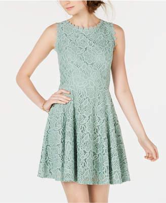 City Studios Juniors' Lace Fit & Flare Dress
