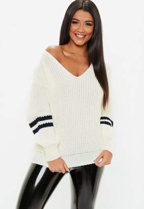 Missguided Cream V Neck Varsity Tipped Sweater