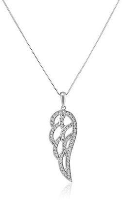 10k White Gold Angel Wing Pendant (1/4 cttw)