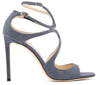 Jimmy Choo Lang 100 Glitter Covered Leather Sandals - Womens - Navy