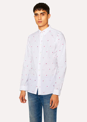 Paul Smith Men's Slim-Fit White 'Apple' Embroidery Cotton Shirt