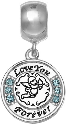 """Individuality Beads Sterling Silver Crystal """"Love You Forever"""" Angel Charm"""