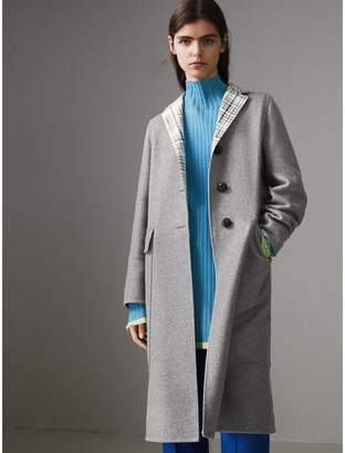 Burberry Check Collar Cashmere Coat , Size: 12