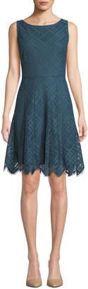 Donna Karan Lattice-Lace Scalloped Fit & Flare Dress