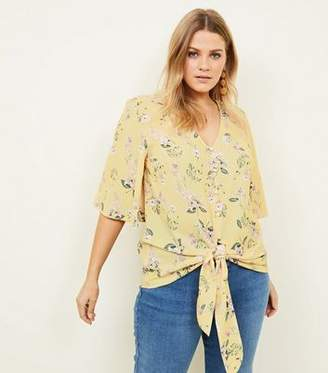 New Look Curves Yellow Floral Tie Button Front Blouse
