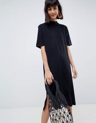 Selected high neck black midi dress