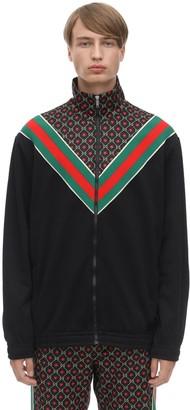 Gucci Gg Logo Cotton Blend Zip-up Track Jacket