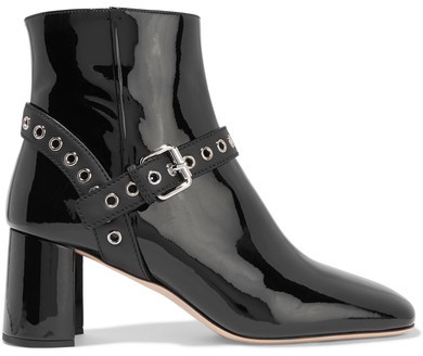 Miu Miu - Eyelet-embellished Patent-leather Ankle Boots - Black