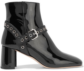 Miu Miu - Eyelet-embellished Patent-leather Ankle Boots - Black $990 thestylecure.com