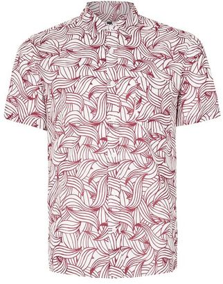 White Waves Print Short Sleeve Casual Shirt $55 thestylecure.com