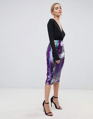 Outrageous Fortune sequin midi bodycon skirt in rainbow stripe