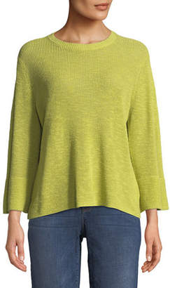 Eileen Fisher 3/4-Sleeve Ribbed Organic Linen and Cotton Sweater