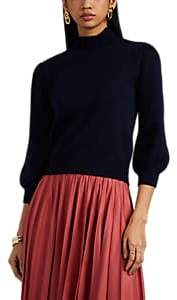 Co Women's Merino Wool Ruffled Mock-Turtleneck Crop Sweater - Navy