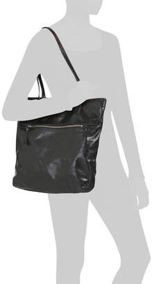 Leather Tote With Front Zip Pocket