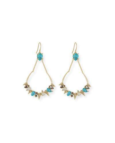 Alexis Bittar Alexis Bittar Pavé Crystal Chain Top Earrings, Golden/Turquoise