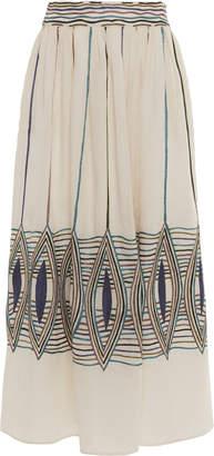 Le Sirenuse Positano Lurex Lozenge Frida Embroidered Cotton-Linen Maxi