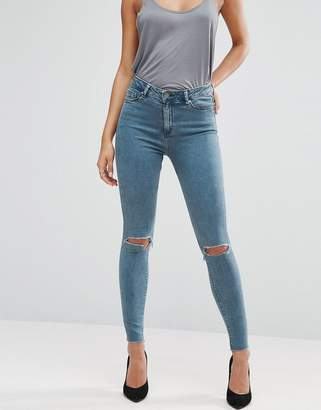 Asos Ridley Skinny Jeans In Lela Wash With Busted Knees And Raw Hem