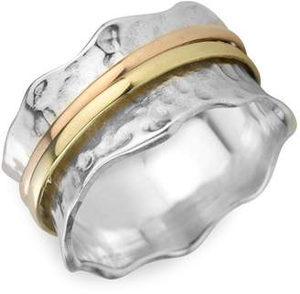 Meditationrings Zen 925 Sterling Silver 9K Yellow Gold Breeze Meditation Ring