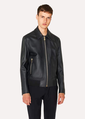 Paul Smith Men's Black Leather Bomber Jacket