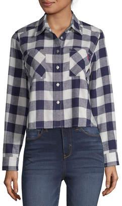 U.S. Polo Assn. Long Sleeve Collar Neck Flannel Shirt-Juniors