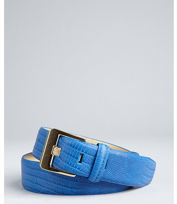 Vince Camuto electric blue lizard embossed leather belt