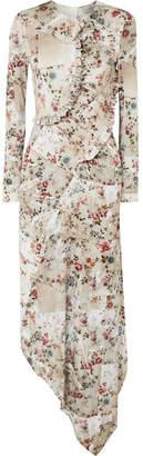 Preen by Thornton Bregazzi Nita Ruffled Floral-print Stretch-crepe Midi Dress