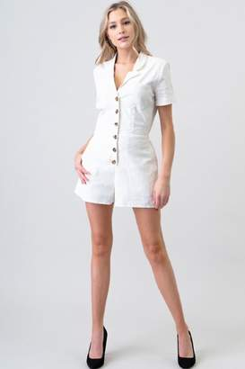 Kustom Newbury White Button-Up Romper