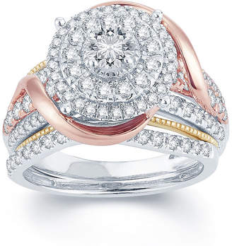 MODERN BRIDE 1 1/2 CT. T.W. Diamond 14K Tri-Color Gold Engagement Ring