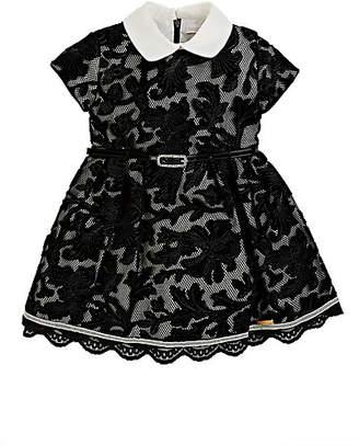 Barcarola Kids' Mesh & Floral Velvet Cap-Sleeve Dress - Black