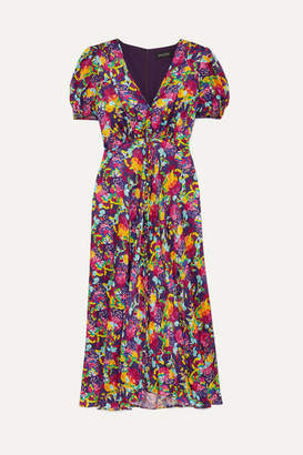 Saloni Lea Floral-print Silk Crepe De Chine Dress