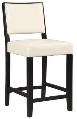 Linon Zoe Counter Stool, 24 inch Seat Height, White PU