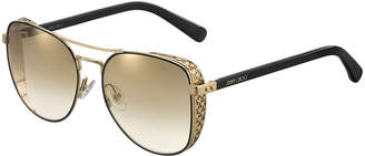 Jimmy Choo Sheenas Round Mirrored Sunglasses w/ Star Side Blinders