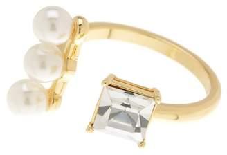 Covet 14K Gold Plated CZ & Pearl Split Ring