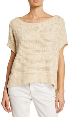 Eileen Fisher Plus Size Tape-Knit Organic Cotton Sweater