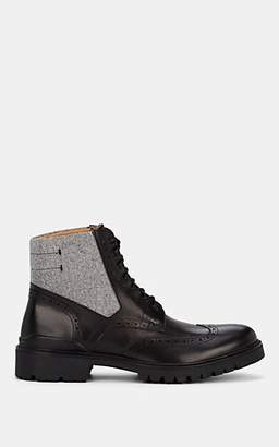Barneys New York MEN'S LEATHER & WOOL WINGTIP BOOTS - BLACK SIZE 10.5 US