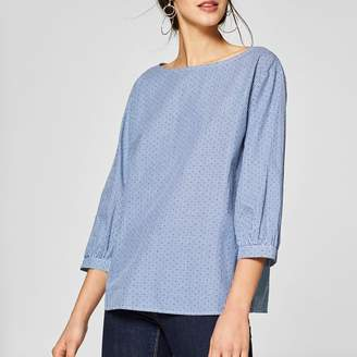 Esprit Round Neck Blouse with 3/4 Length Sleeves