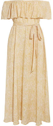 Eberjey - Sunrise Paisley Florence Off-the-shoulder Voile Midi Dress - Gold $220 thestylecure.com