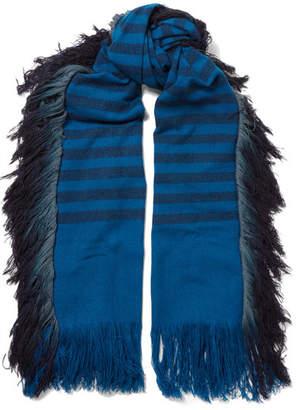 MELT - Bhalay Fringed Striped Camel And Yak-blend Scarf - Blue