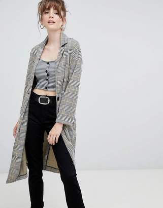 New Look Check Textured Duster Coat